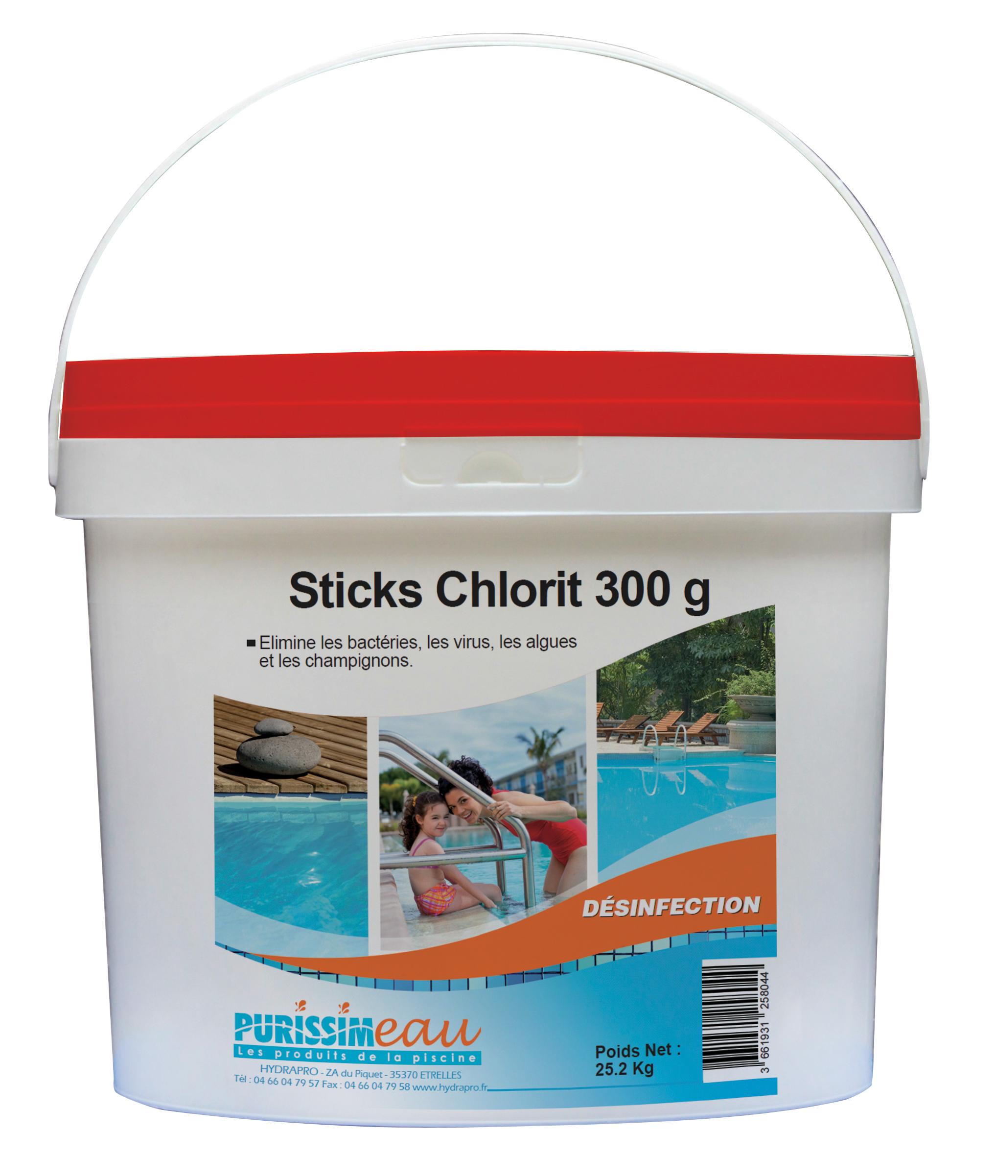 Produits mat riels piscines chlorit stick 300gr for Hypochlorite de calcium piscine